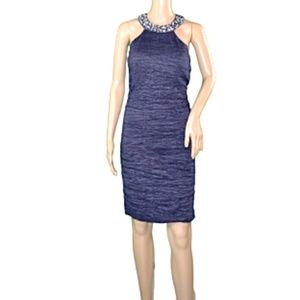 NWOT Jackie Jon Blue Rhinestone Bodycon Dress 10